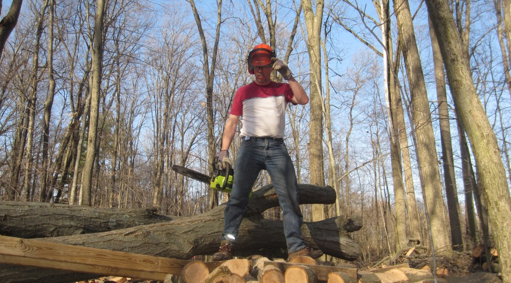 Building a mountain bike stunt at Burchfield Park, in Holt, Michigan.